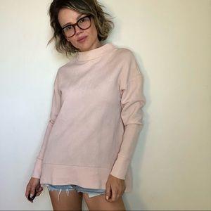 COS Mock Neck Sweatshirt in Light Pink
